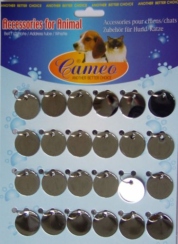 "Tag ""circle D=25mm"" set of 24 pcs. glossy chrome"