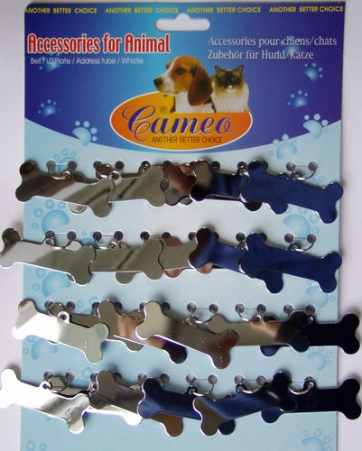 "Tag ""bone"" set of 24 pcs.  glossy chrome"