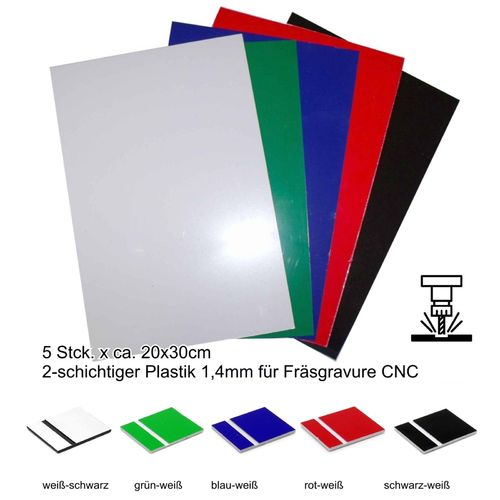 Starter set engraving material 5 colors 1,5mm 20x30cm