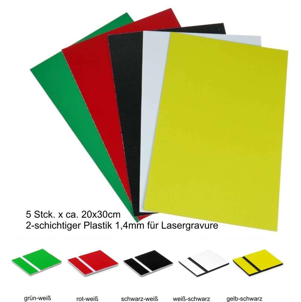 starter set materiale plastico bistrato laser 5 colores 1,5mm 20x30cm -  shop gravierbedarf.de: materiali di consumo per l'incisione laser & cnc  gravierbedarf