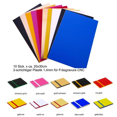 Starter set engraving material 10 colors 1,5mm 20x30cm