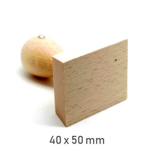Stamp wooden handle rectangle 40 x 50 mm