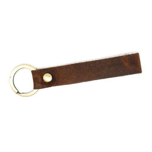 Calf leather key fob vintage dark brown with brass ring 10,5 x 0,8 cm.
