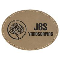 Patch Oval 89x63mm faux laser leather, thermoadhesive.