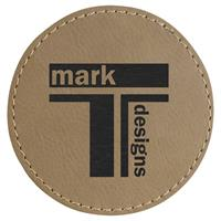 Patch round 76mm faux laser leather, thermoadhesive.