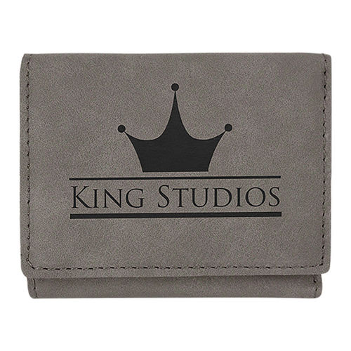 76x102mm Gray Laserable Leatherette Trifold Wallet