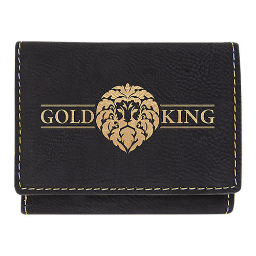 76x102mm Black/Gold Laserable Leatherette Trifold Wallet