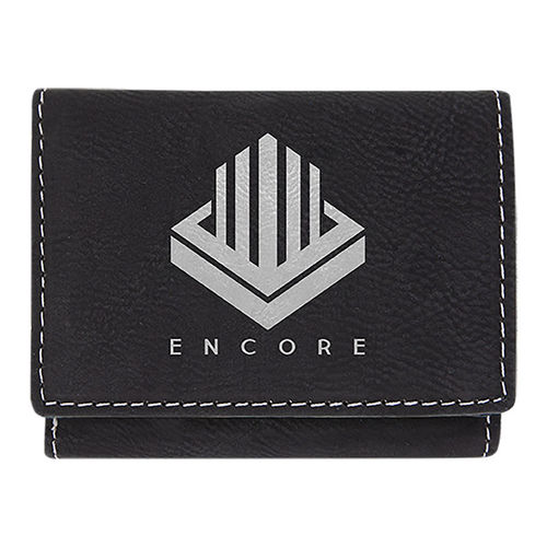 76x102mm Black/Silver Laserable Leatherette Trifold Wallet