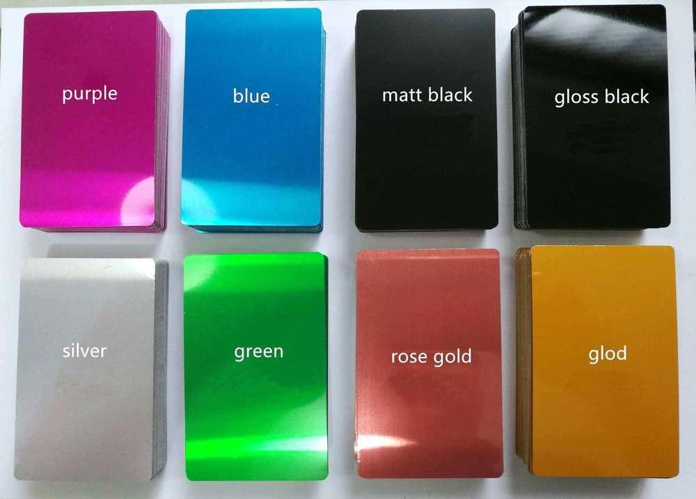 Alum Visitenkarten 8 Farben X 100 Stck 85x54mm